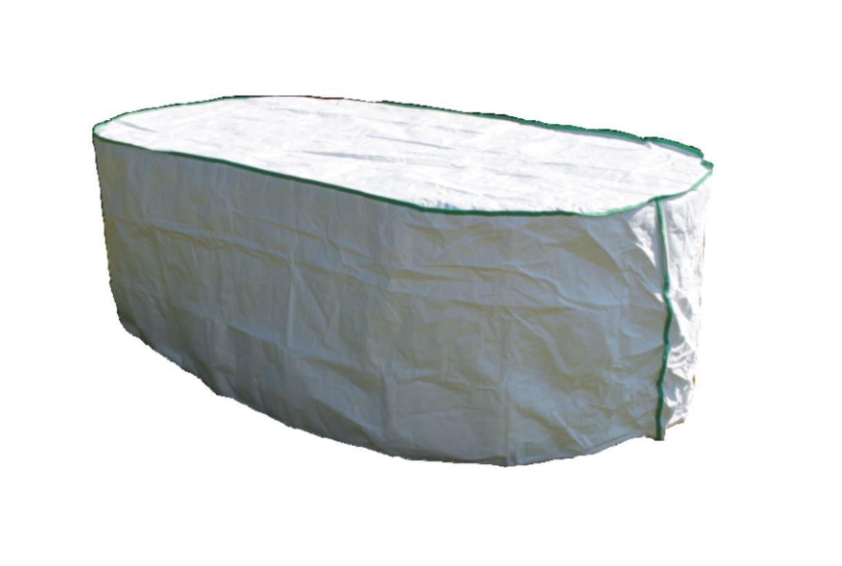Gartentisch Abdeckung oval exklusiv in Tyvek weiss mit Lagerbeutel für Tisch-Abdeckung 180x100x75
