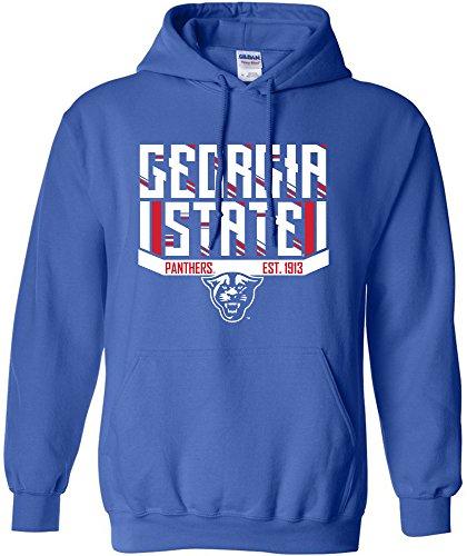 [NCAA Georgia State Panthers Bars & Stripes Hooded Sweatshirt, Medium, Royal] (Georgia Stripe)