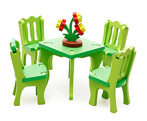 Lovely Kids Colorful Play House Toys Wooden Assembling Furniture Set Toys (Furniture Playhouse)