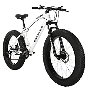 Max4out Fat Tire Mountain Bike 21 Speed 26 inch Wheels Double Disc Brake Suspension Fork Suspension Anti-Slip Bikes (Black/White)