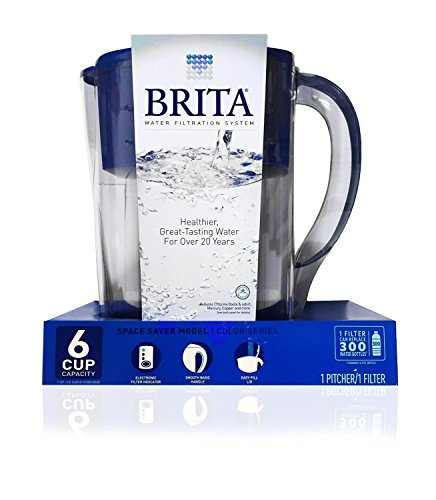Brita Space Saver 6 Cup Pitcher, Blue