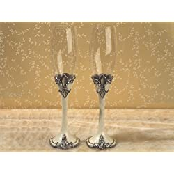 Sophisticated Ivory Fleur De Lis Toasting Glasses C1808 Quantity of 1