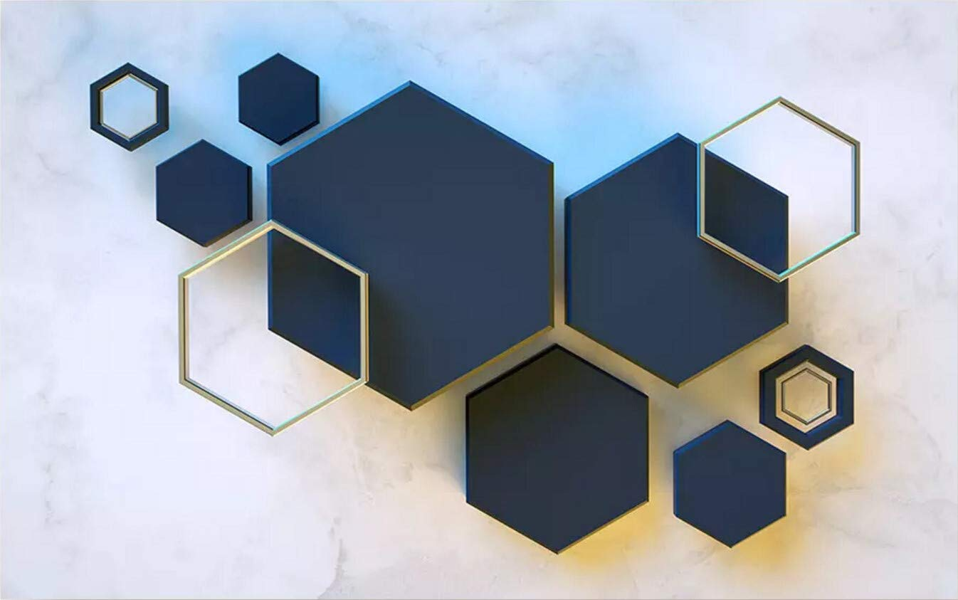 Papier Peint 3D Mur De Fond De T/él/évision G/éom/étrique Hexagone Mosa/ïque Mosa/ïque Le Salon Chambre Moderne Papier Peint Intiss/é D/écoration Murale