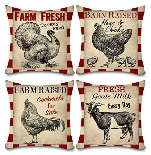 (Faromily Vintage Farmhouse Animals Pillow Covers Red Buffalo Plaids Farm Fresh Turkey Hens & Chicks Goats Cotton Linen Throw Pillow Case Cushion Cover 18