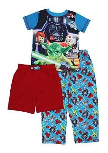 Lego Star Wars 3 piece Pajamas Set (8, Lego Star Wars Blue/Red) (Lego Star Wars Clone Turbo Tank Set 8098)
