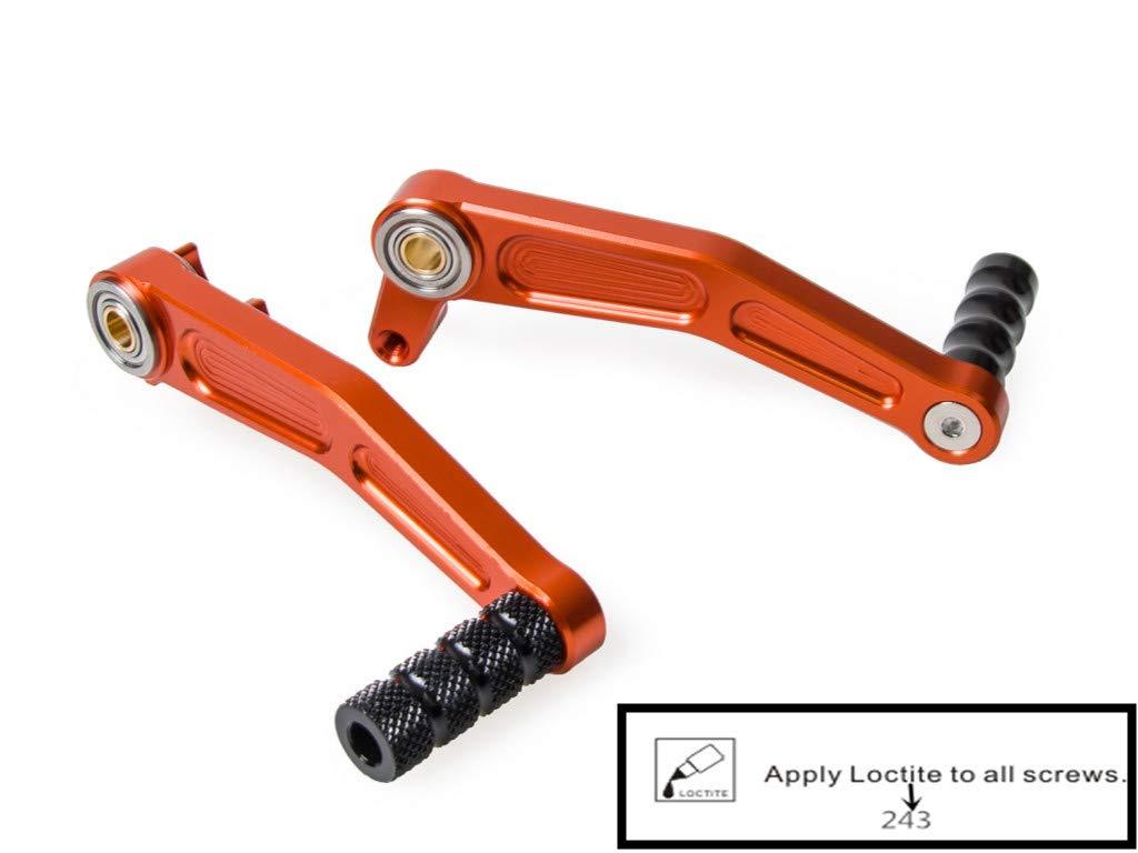 H2Racing Brake Pedal Gear Shift Lever for 125 Duke 2011-2015, 200 Duke 2012-2016, 390 Duke 2013-2016, RC125/200/390 2014-2016