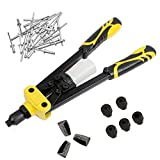 13'' Heavy Duty Hand Riveter, Professional Pop Rivet Gun with 5 Nosepieces 3/32'', 1/8'', 5/32'', 3/16'' and 1/4'', Including Collection Bottle, 50 Blind Rivets, Replacement Jars and Adjustable Sleeve