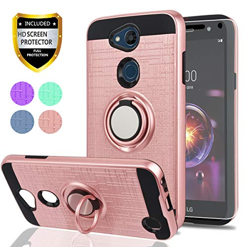 LG Fiesta 2 Case/X Power 2 / X Charge / K10 Power/Fiesta LTE Case HD Screen Protector,Ymhxcy 360 Degree Rotating Ring & Bracket Dual Layer Shock Bumper Cover LG LV7-ZH Rose Gold