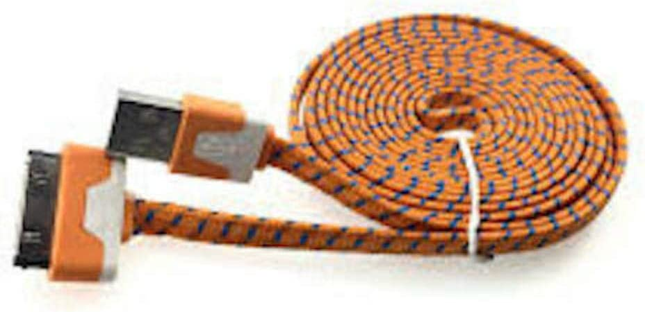 C&C Flat Nylon Braided USB Data Sync Charger Cable for iPhone 4s,4,3g, 3gs, iPod Classic, Nano 1 2 3 4, Touch 4, iPad 1st gen, iPod Shuffle (6FT Orange)
