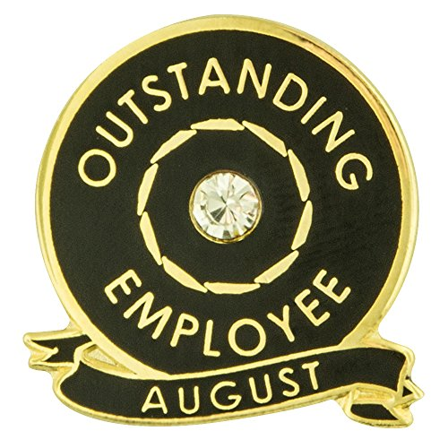 PinMart Outstanding Employee of The Month August w Rhinestone Enamel Lapel Pin