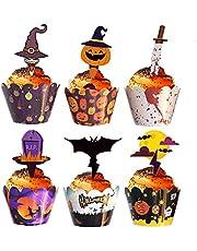48 stuks Halloween cupcake wrappers en decoraties,Geest Pompoen Vleermuis cupcake decoratie,Halloween papieren cupcake decoraties