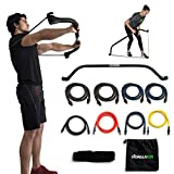 Gorilla Bow Portable Home Gym Resistance Band System - Heavy Set | Weightlifting & HIIT Interval Training Kit | Full Body Workout Equipment (Heavy Set - Black)