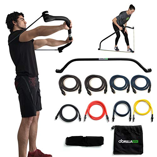 Gorilla Bow Portable Home Gym Resistance Band System Heavy Set, Weightlifting and HIIT Interval Training Kit, Full Body Workout Equipment (Heavy Set - Black)