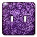 3dRose LLC lsp_32491_2 Decorative Vintage Floral Wallpaper Purple - Double Toggle Switch