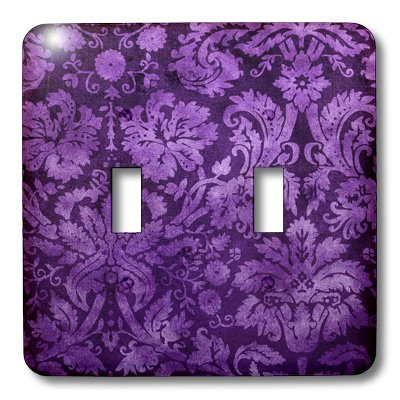 3dRose LLC lsp_32491_2 Decorative Vintage Floral Wallpaper Purple - Double Toggle Switch