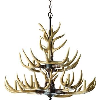 Twelve Light Deer Antler Chandelier Lighting   36in. Chain
