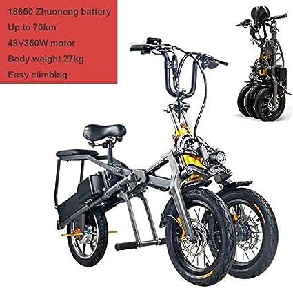 WANZIJING CiclismoBicicletas eléctricas para Adultos, Plegable de Tres Ruedas de la Bici 48V E 350Wh Pedales Doble batería Vespa hasta 30 km/h con 14 Pulgadas Llantas