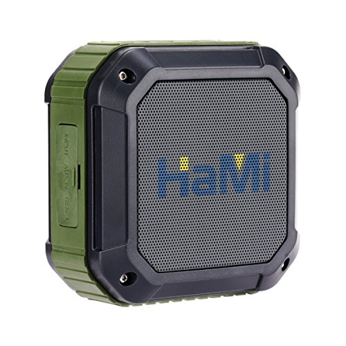 HaMi Outdoor Shower Bluetooth 4.0 Speaker with 12 Hour Playtime , Rugged Shockproof Waterproof Portable Wireless Speaker Pairs with All Bluetooth Devices [12-Month Warranty]- Army Green