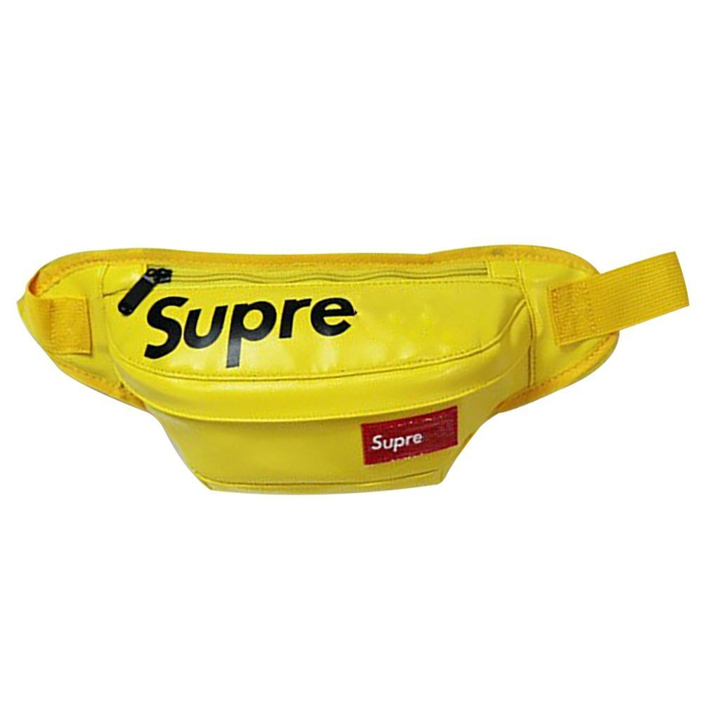 Super-me Waist Pack PU Travel Bag for Hiking Cycling Running Sporting Business Travelling (Yellow)