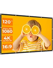VANKYΟ StayTrue Projector Screen, 120 Inch Projection Screen 4K HD, 16:9, Foldable Wrinkle-Free Movies Screen(1.1 GAIN, 160°Viewing Cone) for Home Theater, Support Front & Rear Projection