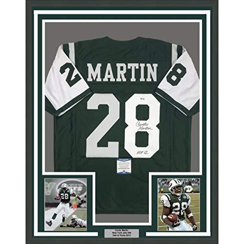 Framed Autographed/Signed Curtis Martin HOF 12 33x42 New York Green Football Jersey Beckett BAS COA