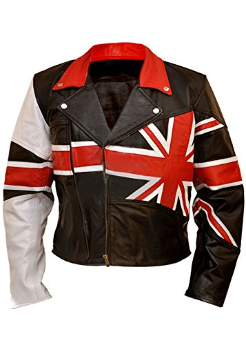 Leatherly Veste Homme Union Jack British Flag Cuir Veste