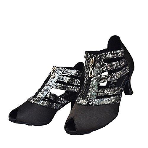 Zapatos Alto Pescado Baile Sandalias 6cm Blando Negro Adulto Fondo Boca Amistad Tacón De Latino Mujer IZ4fvX