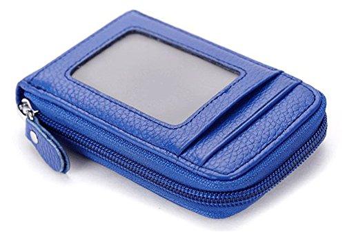 Zipper Blocking Card Holder Wallet Case For Women Men Business Credit Name Cards Leather Waterproof Royal Blue Lightweight Slim