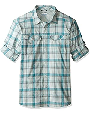 Men's Big-Tall Silver Ridge Plaid Long Sleeve Shirt, Teal Window Pane, X-Large