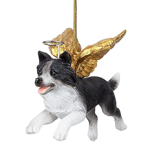 Christmas Tree Ornaments - Honor The Pooch Border Collie Holiday Angel Dog Ornaments (Collie Dog Angel Ornament)