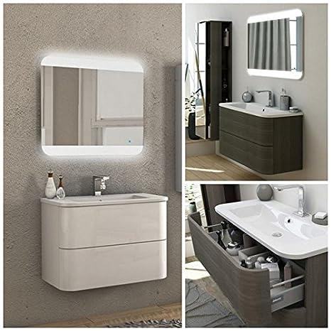 Mobile arredo Bagno Angie 80 cm 2 cassetti lavabo mineralmarmo ...