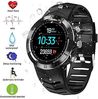 Padgene Reloj Inteligente IP67 Impermeable Bluetooth SmartWatch con Pulsómetro, Múltiples Modos de Deportes, Monitor de Sueño, Podómetro, Notificación ...