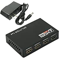 REDGO 1 in 4 out Box Hub v1.4 3D 1080p Full HD 1X4 Port HDMI Splitter Amplifier Repeater for HDTV TV Box 1 in 4 out Converter