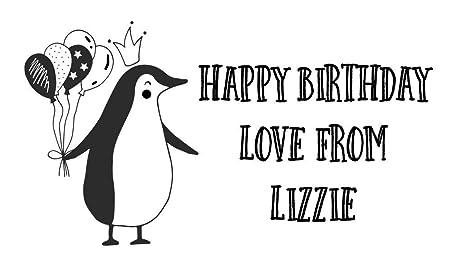 Sello de goma con diseño de pingüino de cumpleaños: Amazon ...