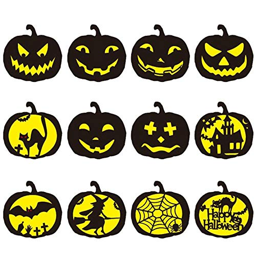 Umiwe Mandala Painting Template,Pumpkin Halloween Painting,Reusable Stencil Templates for Room Decoration,Halloween Decorations.(12 Packs) -