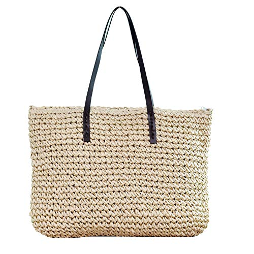 - Desirepath Summer Straw Bags for Women/Girls Natural Travel Beach Shopping Woven Bag with Leather Strap