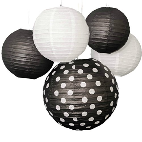 Bobee Black and White Paper Lanterns Party Decorations, set of 5
