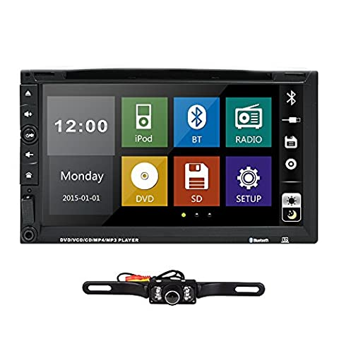 HIZPO 7 Inch HD Touch Screen Double 2 DIN Car Stereo DVD Player Bluetooth IPod MP3 CD+Reverse (Radios De Dvd)