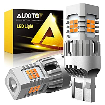 AUXITO 7440 7443 LED Turn Signal Light Bulbs, Error Free, Canbus Ready, High Power W21W LED Bulbs Blinker Light, 25W Per Bulb, Amber Yellow, Pack of 2: Automotive
