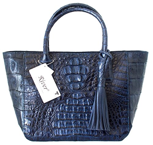 (Authentic River Crocodile Skin Womens Genuine Hornback Leather Handbag Bag Tote Hobo W/Tuft (Navy Blue))