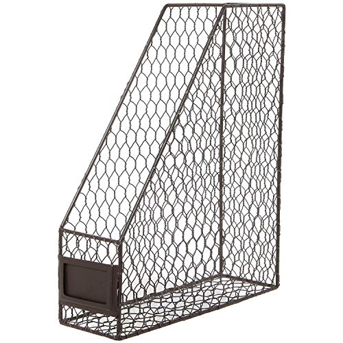 (Rustic Chicken Wire Magazine, Office Document, File Holder Shelf Organizer Basket w/Chalkboard Label)