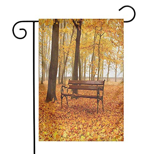 duommhome Rustic Garden Flag Rustic Bench in Golden Pale Autumn Park Mist Day November Love Fall Season Photo Decorative Flags for Garden Yard Lawn W12 x L18 Orange Brown ()