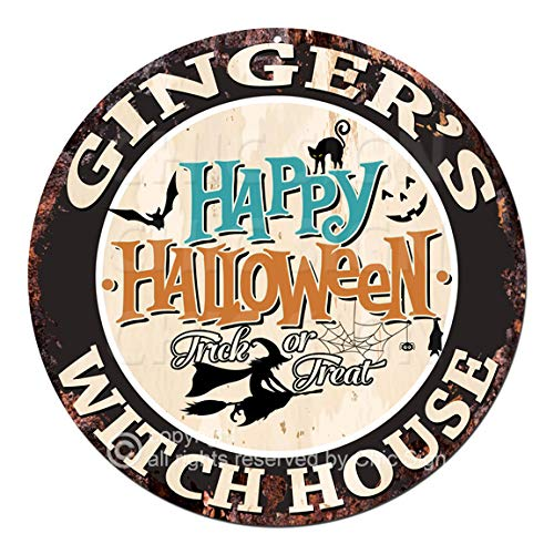 Ginger'S Happy Halloween Witch House Chic Tin Sign Rustic Shabby Vintage Style Retro Kitchen Bar Pub Coffee Shop Man cave Decor Gift Ideas