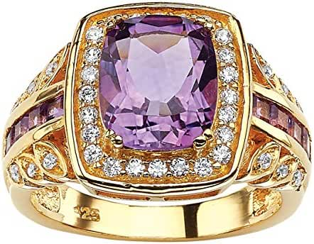 Cushion-Cut Genuine Purple Amethyst and CZ 14k Gold over Sterling Silver Halo Ring