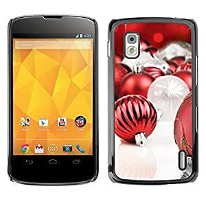 YOYO Slim PC / Aluminium Case Cover Armor Shell Portection //Christmas Holiday Red Globes 1283 //LG Google Nexus 4