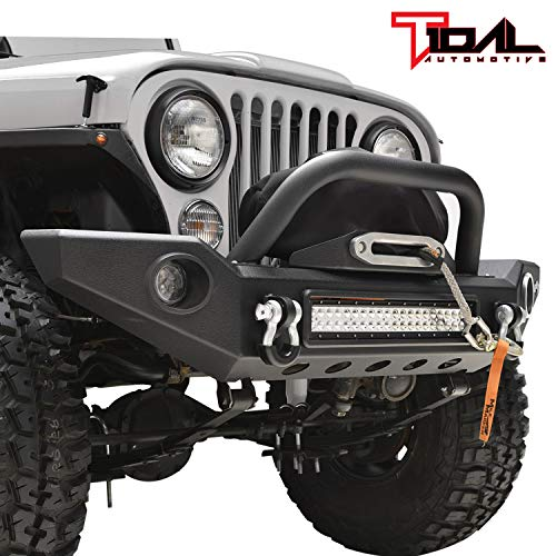 Tidal Full Width LED Front Bumper With Light Surround for 76-86 Jeep Wrangler CJ