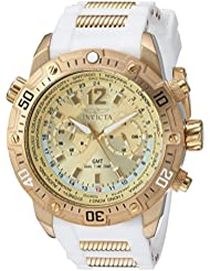 Invicta Mens Aviator Quartz Stainless Steel and Silicone Casual Watch, Color:White (Model: 24581)