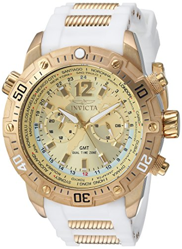 Invicta Men's Aviator Stainless Steel Quartz Watch with Silicone Strap, White, 26 (Model: 24581) (White Mens Watch Invicta Gold And)