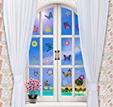 MerryJoyParty Spring Flower and Butterfly Window Clings Removable Double Side Static Window Clings for Easter and Spring Party 10.5'' x 13'' Sheet - 10 Sheets