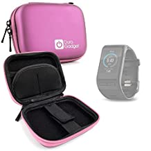DURAGADGET Premium Quality Shock Absorbent Pink Hard Shell Case - Compatible with the Garmin Vivo Active HR and Garmin Vivofit 3 Smartwatches - with Carabiner Clip
